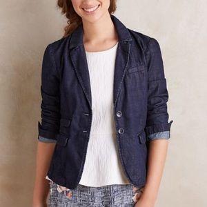 Anthro Pilcro Dark Blue Denim Blazer Jacket Small